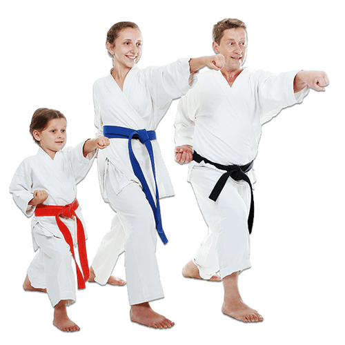 Martial Arts Lessons for Families in Bayonne NJ - Man and Daughters Family Punching Together