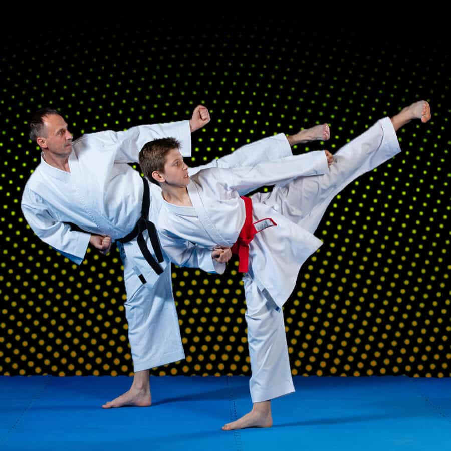 Martial Arts Lessons for Families in Bayonne NJ - Dad and Son High Kick
