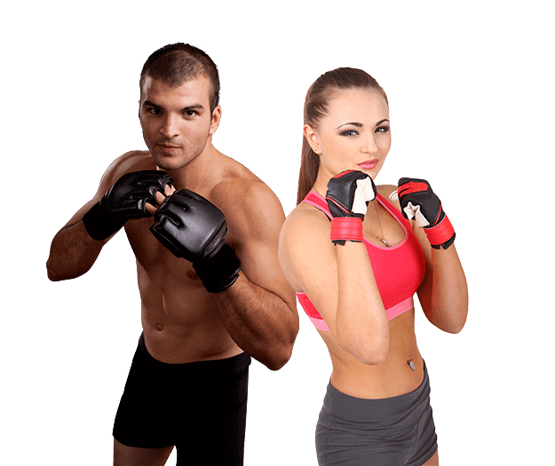Mixed Martial Arts Lessons for Adults in Bayonne NJ - Hands up Fitness MMA Man and Woman Footer Banner