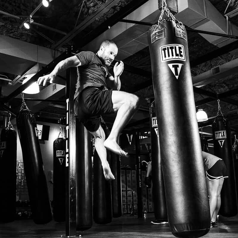 Mixed Martial Arts Lessons for Adults in Bayonne NJ - Flying Knee Black and White MMA