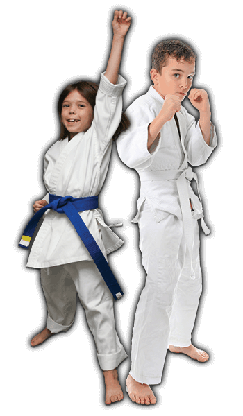 Martial Arts Lessons for Kids in Bayonne NJ - Happy Blue Belt Girl and Focused Boy Banner