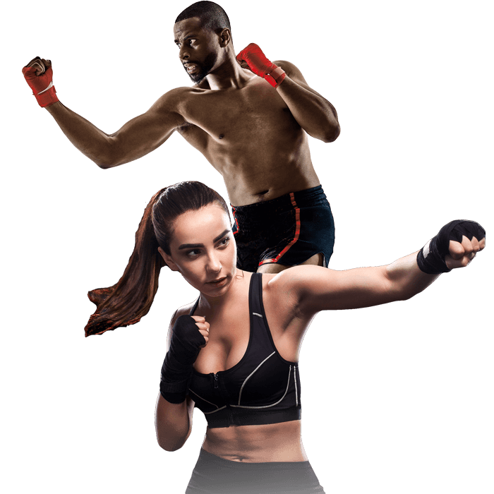 Mixed Martial Arts Lessons for Adults in Bayonne NJ - Man and Woman Punching Hooks